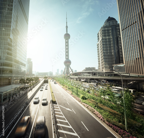 Photo  road in Shanghai lujiazui financial center