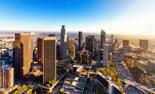 Naklejka na okno łazienkowe Widok z lotu ptaka w centrum Los Angeles