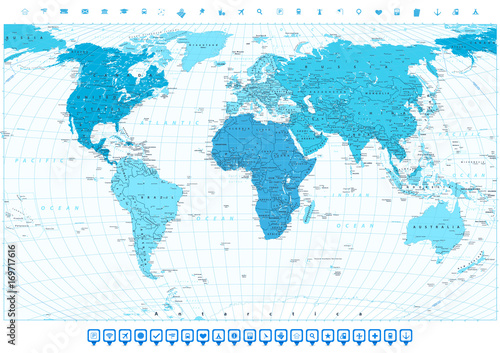 Navigation World Map.World Map With Different Colored Continents In Colors Of Blue And