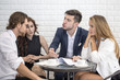 Business People Working Together with Serious emotion. Business People takling in modern office. Business people Working concept.