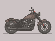 Classic Vintage Motorcycle. Motorbike Flat Vector Illustration