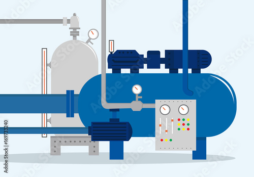 Fototapeta Cargo storage complex, container for water, gas, chemical and oil. Vector illustration, flat style. obraz