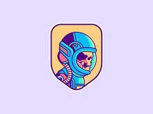 Space Logo. Vintage Astronaut ...