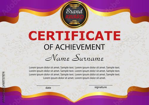 Certificate Achievement Elegant Purple Template Reward Winning
