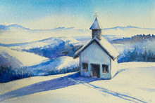 Rustic Church In Winter Decorates Rural Landscape.Picture Created With Watercolors.