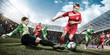 canvas print picture - Frauenfußball - Angriff am Torwart vorbei
