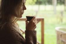 Thoughtful Woman Having Glass ...