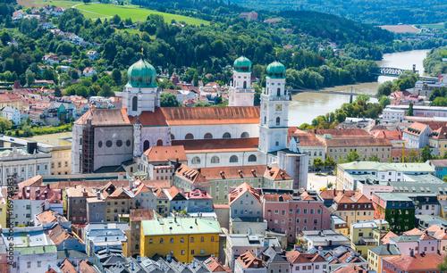 aerial of Passau cathedral at danube river Wallpaper Mural