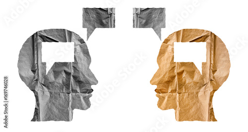 Crumpled paper shaped as a human heads and talk balloons on white background Fototapet