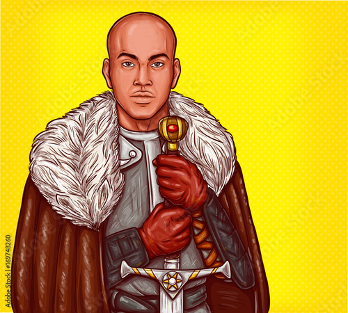 Photo  Vector pop art illustration of a medieval knight in steel armor and winter fur cloak with an iron sword in his hands