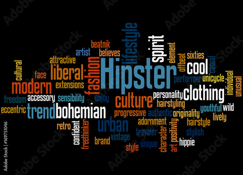 Hipster, word cloud concept 3 Canvas Print