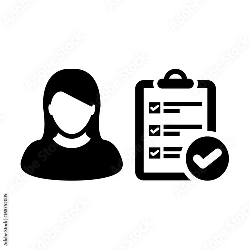 Woman Person Checklist Icon Vector To Do List User Report With Check