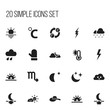 Set Of 20 Editable Air Icons. Includes Symbols Such As Lunar, Headwear, Skyless And More. Can Be Used For Web, Mobile, UI And Infographic Design.