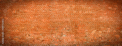 Fotobehang Baksteen muur Old Brick wall panoramic view.