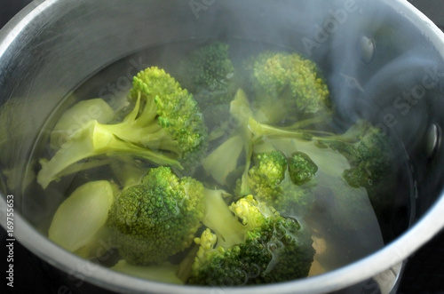 Steaming Broccoli.Vegetable - Cooking Broccoli Vegetable