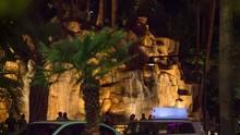 Las Vegas Waterfall On The Strip Across Street. A View From Across The Street In Las Vegas Strip Of The Waterfall Installation Outside A Casino Resort