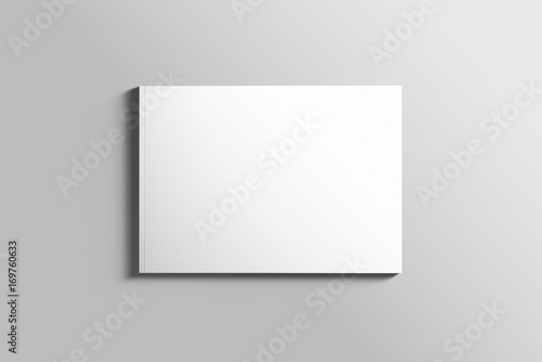 La pose en embrasure Taupe Blank A4 photorealistic landscape brochure mockup on light grey background.