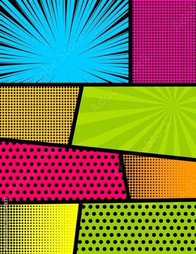 Blank rectangle for comic superhero text, speech bubble, message. Humor graphic. Pop art comics book magazine cover template. Cartoon funny vintage strip mock up. Vector halftone illustration.
