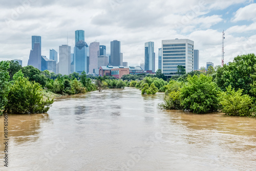 Fototapeta High and fast water rising in Bayou River with downtown Houston in background under cloud blue sky