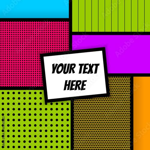 In de dag Retro sign Vector geometric halftone illustration. Blank rectangle Lichtenstein, comic advertise text, speech bubble. Pop art comics book magazine cover template. Cartoon funny vintage strip mock up.