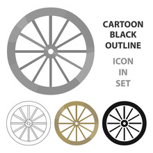 Cart-wheel Icon Cartoon. Singe...