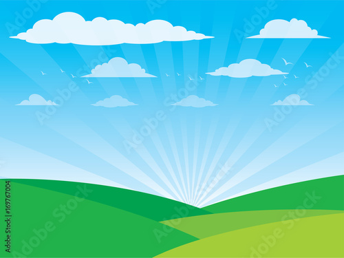 Foto op Canvas Blauw Vector Farm Landscape with Trees ,Clouds, birds, sky, Vector illustration