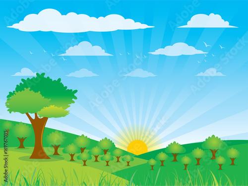 Foto op Aluminium Blauw Farm flat landscape. Farm landscape concept ,Clouds, birds, sky, Vector illustration