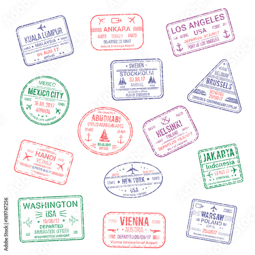 Vector icons of city passport stamps world travel Poster
