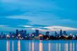 Bangkok skyline cityscape at sunset twilight. Thailand