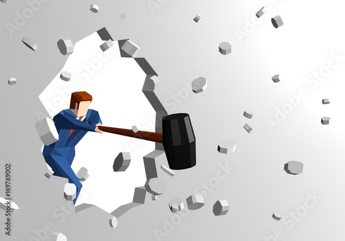 Businessman breaking wall with hammer Canvas
