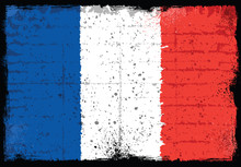 Grunge Elements With Flag Of France.