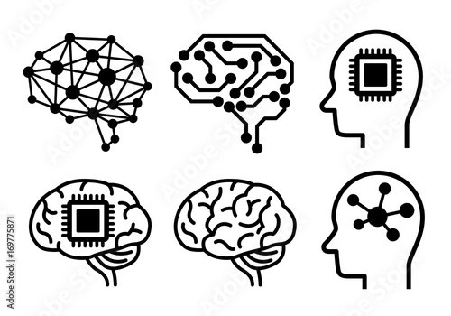 Obraz AI (artificial intelligence) icon set. - fototapety do salonu