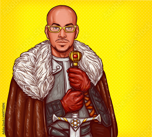 Vector pop art illustration of a medieval knight in steel armor, winter fur cloak and glasses, with an iron sword in his hands Wallpaper Mural