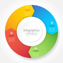 Infographic Design Elements For Your Business Data With 4 Options, Parts, Steps, Timelines Or Processes, Arrow Wheel Circle Style. Vector Illustration.