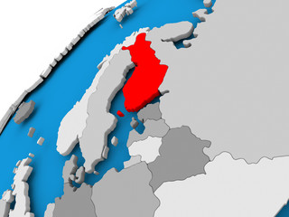 Map of Finland in red