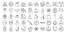 Big Set Of Halloween Outline Icon, Include Monster Such As Angle Of Death, Dracula, Mask Of Murderer, Bat And Cute Ghost, Abandoned House, Owl, Candle, Black Cat, Candy, Wolf, Skull