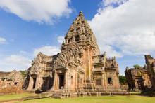 Impressive Prasat Hin Phanom Rung Ancient Khmer Temple Under Vibrant Blue Sky, Buriram Province Of Thailand