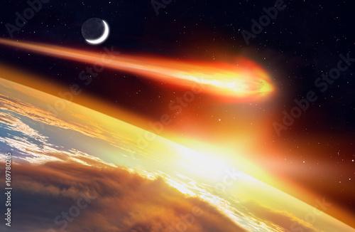 """Plakat Atak asteroidy na Ziemi """"Elementy tego zdjęcia dostarczone przez NASA"""