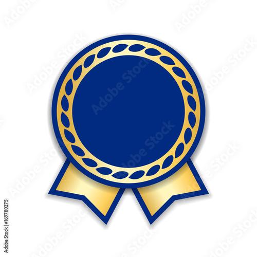 award ribbon isolated gold blue design medal label badge