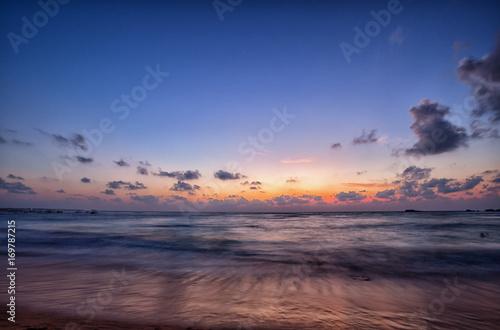 Montage in der Fensternische Leuchtturm Ocean in the evening after sunset