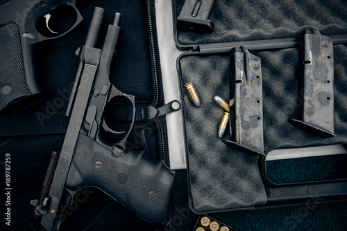 The gun and gun Short black pistol Canvas Print
