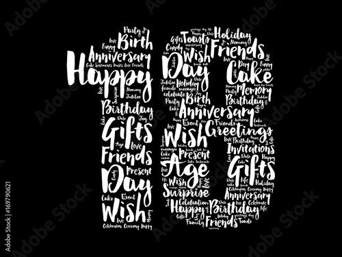 Papel de parede Happy 18th birthday word cloud collage concept
