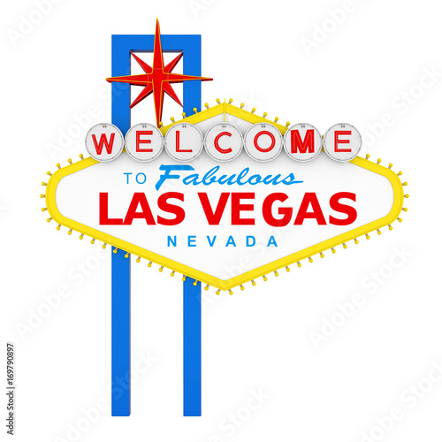 Photo Stands Las Vegas Welcome to Fabulous Las Vegas Sign Isolated