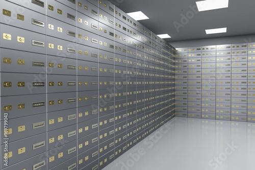 Fototapeta safe deposit boxes inside bank vault obraz