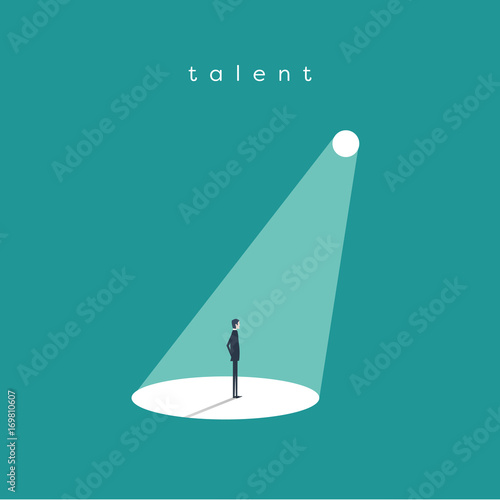 Poster Licht, schaduw Business recruitment or hiring vector concept. Businessman standing in spotlight or searchlight as symbol of unique talent and skills.