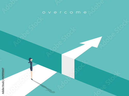 Fotografiet Business challenge or obstacle vector concept with businesswoman standing on the edge of gap, chasm with arrow going through
