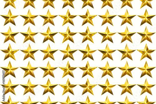 Fototapeta Star isolated on white background. Texture with five-pointed stars. Seamless stars pattern. 3D illustration. obraz na płótnie