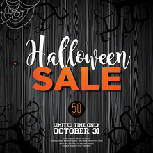 Halloween Sale Vector Illustration With Coffin And Holiday Elements On Black Background. Design For Offer, Coupon, Banner, Voucher Or Promotional Poster