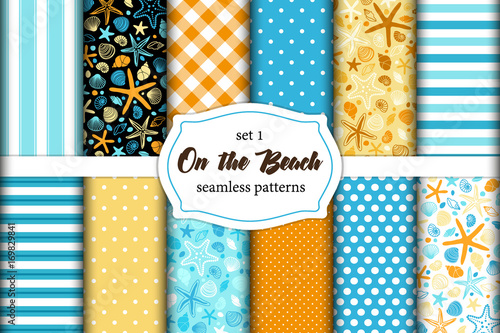 Cute set of Summer Time vintage seamless patterns with hand drawn shells and starfishes