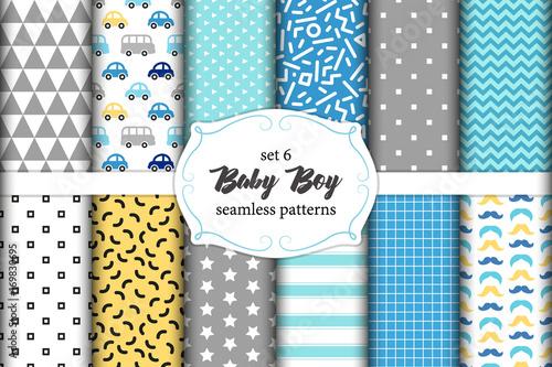 ed312f22cfb2 Cute set of scandinavian Baby Boy seamless patterns with fabric ...